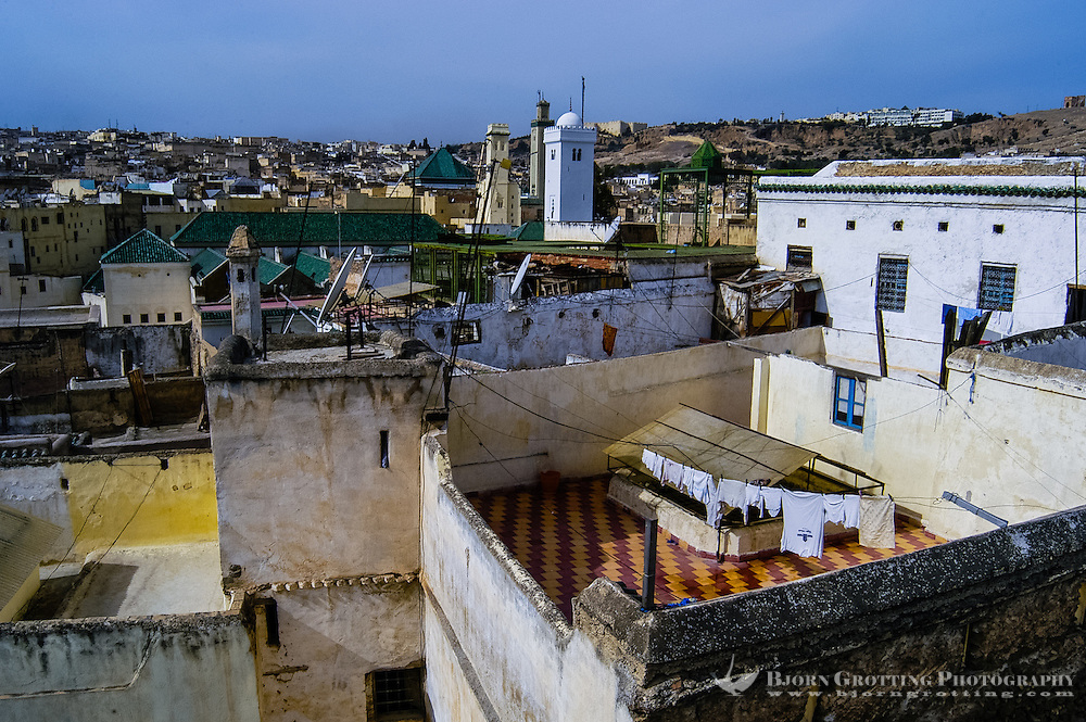Morocco. The medina in Fes, Fes el Bali, is on UNESCO's World Heritage Site list. From the rooftops.