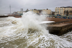 © Licensed to London News Pictures. 11/10/2019. Brighton, UK. Powerful waves are crashing into the pontoon alongside the Brighton Palace Pier in Brighton and Hove as wet and windy weather continues to hit the seaside resort. Photo credit: Hugo Michiels/LNP
