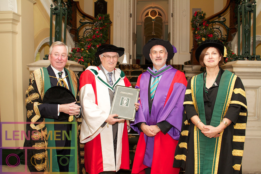 "Honorary Conferring 2011. .Royal College of Physicians in Ireland, Thursday 1 December at 4.30 p.m...The National University of Ireland Honorary Conferring Ceremony will take place on the 1st of December in the Corrigan Hall, Royal College of Physicians in Ireland...Pictured at The National University of Ireland Honorary Conferring Ceremony were:.Dr Kieran Mulvey,.Dr Michael L. Brodie, .Dr Diarmuid O Muirithe, .Dr Anne Anderson and Dr Maureen O'Rourke Murphy. ..The Chancellor of the University, Dr Maurice Manning will confer Honorary Degrees on the following;. .Anne Anderson                              Permanent Representative of Ireland to the UN  LLD     .Dr Michael L. Brodie                       Chief Scientist of Verizon Services Operations DSc.Dr Diarmaid Ó Muirithe                    Historical Lexicographer DLitt Celt.Kieran Mulvey                                Chief Executive of the Labour Relations Commission LLD.Professor Maureen O'Rourke Murphy   Hofstra University, New York DLitt. .Outlining Anne Anderson's exceptional record of dedicated service and her illustrious career as a member of our diplomatic service. Professor Philip Nolan, President of NUI Maynooth said:. .""There have been three central themes to Anne Anderson's contribution to diplomacy and public life: the process of building peace and resolving conflict in Northern Ireland, the development of the European Union, and our relationship with and involvement in the United Nations'. Her more recent diplomatic career is dominated by her role in the EU and the UN, building on her early experiences to become one of Ireland's outstanding diplomats."". .""Whether in multilateral diplomacy or in bilateral relations she combines forensic attention to detail with an ability to see the big picture.  A thread running through the performance of all her distinguished postings has been her deep sense of integrity and her unwavering commitment, She has approached the most sensitive of roles"