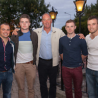 Liam Murphy, Former Clare League Manager, Darragh Fitzgerald, player, Donie Geraghty, Chairman of the Clare Soccer League, Darren Murphy, player and David McCarthy, player at the Oscar Traynor BBQ on Friday night in the West County Hotel