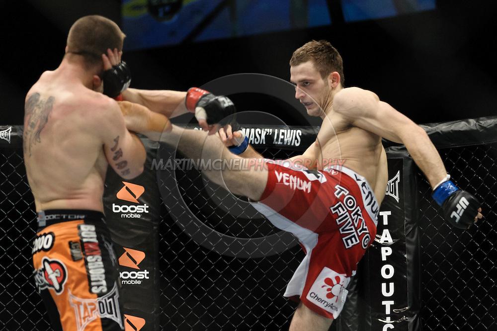 OBERHAUSEN, GERMANY, NOVEMBER 13, 2010: Duane Ludwig and Nick Osipczak during UFC 122 inside the Konig Pilsner Arena in Oberhausen, Germany.