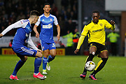 Burton Albion striker Marvin Sordell (9) battles for possession during the EFL Sky Bet Championship match between Burton Albion and Ipswich Town at the Pirelli Stadium, Burton upon Trent, England on 14 April 2017. Photo by Richard Holmes.