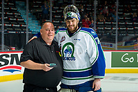REGINA, SK - MAY 21: Stuart Skinner #74 of Swift Current Broncos accepts the first star of the game at the end of the game against the Hamilton Bulldogs at the Brandt Centre on May 21, 2018 in Regina, Canada. (Photo by Marissa Baecker/CHL Images)