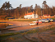 The Ramsholt Arms public house in late afternoon winter sunshine by the River Deben, Suffolk, England