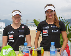 29.07.2014, Klagenfurt, Strandbad, AUT, A1 Beachvolleyball Grand Slam 2014, im Bild Nadine Strauss 1 AUT, Teresa Strauss 2 AUT // during the A1 Beachvolleyball Grand Slam at the Strandbad Klagenfurt, Austria on 2014/07/29. EXPA Pictures © 2014, EXPA Pictures © 2014, PhotoCredit: EXPA/ Mag. Gert Steinthaler