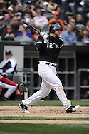 CHICAGO - APRIL 17:  A.J. Pierzynski #12 of the Chicago White Sox bats against the Los Angeles Angels of Anaheim on April 17, 2011 at U.S. Cellular Field in Chicago, Illinois.  The Angels defeated the White Sox 4-2.  (Photo by Ron Vesely)  Subject:  A.J. Pierzynski