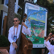 A band provides entertainment for spectators at the French Open Tennis Tournament at Roland Garros, Paris, France on Sunday, May 31, 2009. Photo Tim Clayton.