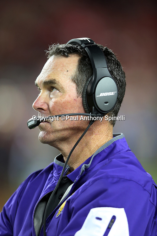 Minnesota Vikings head coach Mike Zimmer looks on from the sideline during the 2015 NFL week 1 regular season football game against the San Francisco 49ers on Monday, Sept. 14, 2015 in Santa Clara, Calif. The 49ers won the game 20-3. (©Paul Anthony Spinelli)