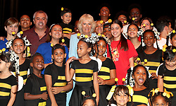 The Duchess of Cornwall poses with pupils and staff at a childrens theatre at Plaz de San Francisco, during a guided tour of Old Havana, in Havana, Cuba.
