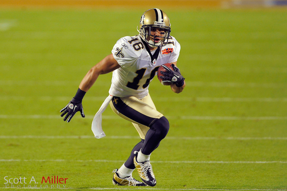 Miami, FL, USA; New Orleans Saints wide receiver Lance Moore #16 during the Saints victory over the Indianapolis Colts 31-17 in Super Bowl XLIV at Sun Life Stadium on Feb 7, 2010...©2010 Scott A. Miller