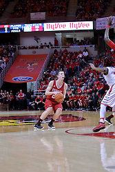 11 February 2017:  Lacking a defender, Nate Kennell sets up a shot during a College MVC (Missouri Valley conference) mens basketball game between the Bradley Braves and Illinois State Redbirds in  Redbird Arena, Normal IL
