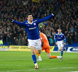 CARDIFF, WALES - Tuesday, February 14, 2012: Cardiff City's Haris Vuckic celebrates scoring the third goal against Peterborough United on his club debut during the Football League Championship match at the Cardiff City Stadium. (Pic by David Rawcliffe/Propaganda)