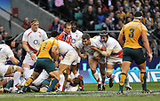 Twickenham, GREAT BRITAIN,Steve BORTHWICK and Nick EASTER, with the ball attacking, during the Investic Challenge, England vs Australia, Autumn International at Twickenham Stadium, Surrey on Sat 15.11.2008 [Photo, Peter Spurrier/Intersport-images]