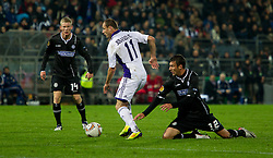 20.10.2011, UPC Arena, Graz, AUT, UEFA Europa League, Sturm Graz vs RSC Anderlecht, im Bild Milan Jovanovic (RSC Anderlecht, Offense, #11) und Milan Dudic (SK Sturm Graz, #12, Defense) sowie Florian Kainz (SK Sturm Graz, #14, Midfield) // during UEFA Europa League football game between Sturm Graz and RSC Anderlecht at UPC Arena in Graz, Austria on 20/10/2011. EXPA Pictures © 2011, PhotoCredit: EXPA/ E. Scheriau