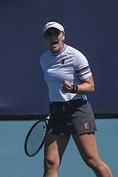 March 22, 2019 - Canada's BIANCA ANDREESCU in action against Sofia Kenin of the United States in the second round of the Miami Open. Andreescu went on to win the match 6-3, 6-3. (Credit Image: © Adam DelGiudice/ZUMA Wire)