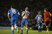 Brighton striker, Tomer Hemed (10) anguish after missing a chance during the Sky Bet Championship match between Brighton and Hove Albion and Birmingham City at the American Express Community Stadium, Brighton and Hove, England on 28 November 2015.