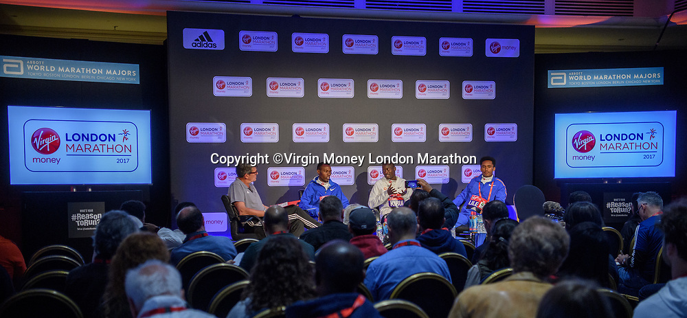 The elite men's press conference at the Guoman Tower Hotel. The Virgin Money London Marathon, 19th April 2017.<br /> <br /> Photo: Bob Martin for Virgin Money London Marathon<br /> <br /> For further information: media@londonmarathonevents.co.uk The elite men's press conference at the Guoman Tower Hotel. The Virgin Money London Marathon, 20th April 2017.<br />