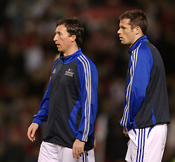 Manchester, England - Tuesday, March 13, 2007: Europe XI's Robbie 'God' Fowler and Jamie Carragher before the UEFA Celebration Match against Manchester United at Old Trafford. (Pic by David Rawcliffe/Propaganda)