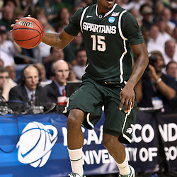 Mar 17, 2011; Tampa, FL, USA; Michigan State Spartans guard Durrell Summers (15) during the first half of the second round of the 2011 NCAA men's basketball tournament against the UCLA Bruins at the St. Pete Times Forum.  Mandatory Credit: Derick E. Hingle