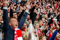 Bristol City fans celebrate their sides second goal - Photo mandatory by-line: Rogan Thomson/JMP - 07966 386802 - 22/03/2015 - SPORT - FOOTBALL - London, England - Wembley Stadium - Bristol City v Walsall - Johnstone's Paint Trophy Final.