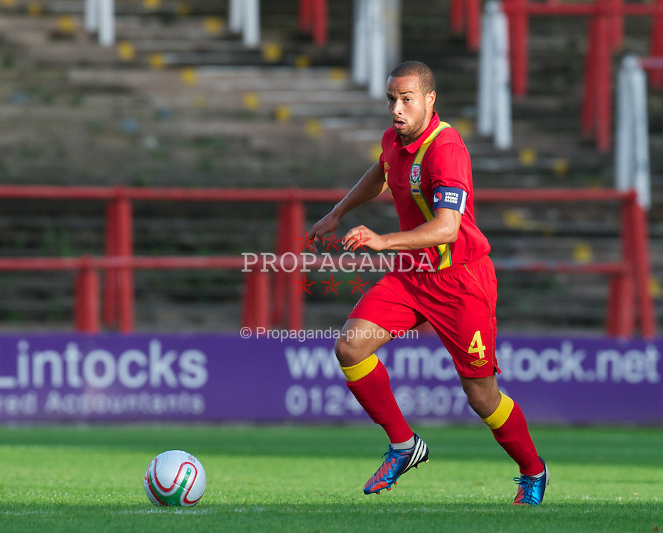 WREXHAM, WALES - Wednesday, August 15, 2012: Wales' Ashley Richards in action against Armenia during the UEFA Under-21 Championship Qualifying Round Group 3 match at the Racecourse Ground. (Pic by Dave Richards/Propaganda)