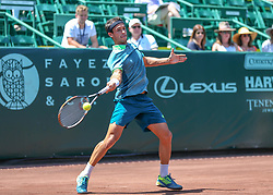 April 11, 2018 - Houston, TX, U.S. - HOUSTON, TX - APRIL 11:  Nicolas Kicker of Argentina returns a volley during the second round of the Men's Clay Court Championships on April 11, 2018 at River Oaks Country Club in Houston, Texas.  (Photo by Leslie Plaza Johnson/Icon Sportswire) (Credit Image: © Leslie Plaza Johnson/Icon SMI via ZUMA Press)