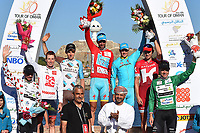 Podium / JANSE VAN RENSBURG Jacques (RSA)/ CANTY Brendan (AUS)/ BARDET Romain (FRA)/ NIBALI Vincenzo (ITA) Red Leader Jersey / FUGLSANG Jakob (DEN)/ KRISTOFF Alexander (NOR)/ BOASSON HAGEN Edvald (NOR) Green Points Jersey, during the 7th Tour of Oman 2016, Stage 6, The Wave Muscat - Matrah Corniche (130,5Km) on February 21, 2016 - Photo Tim de Waele / DPPI