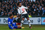 Birmingham City  midfielder David Davis (26) tackles Derby County midfielder Ikechi Anya (8)  during the EFL Sky Bet Championship match between Derby County and Birmingham City at the iPro Stadium, Derby, England on 27 December 2016. Photo by Simon Davies.