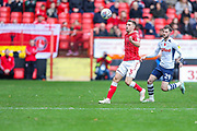 Charlton Athletic defender Ben Purrington (3) and Preston North End forward Tom Barkhuizen (29) during the EFL Sky Bet Championship match between Charlton Athletic and Preston North End at The Valley, London, England on 3 November 2019.