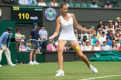 © Licensed to London News Pictures. 04/07/2018. London, UK. Karolina Pliskova of the Czech Republic plays Victoria Azarenka of Belarus in the women's 2nd round singles draw of the Wimbledon Tennis Championships 2018, Day 3. Photo credit: Ray Tang/LNP