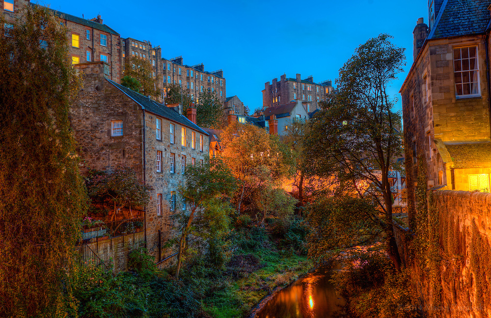 A twilight view of Dean Village in Edinburgh.