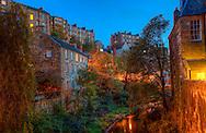 A twilight view of Dean Village in Edinburgh.