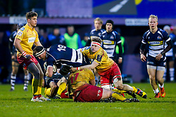 Bristol Rugby replacement Nick Koster is tackled by Scarlets XV replacement Torin Myhill - Mandatory byline: Rogan Thomson/JMP - 17/01/2016 - RUGBY UNION - Clifton Rugby Club - Bristol, England - Scarlets Premiership Select XV v Bristol Rugby - B&I Cup.