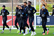 England forward Tammy Abraham and his team mates during the England football team training session at St George's Park National Football Centre, Burton-Upon-Trent, United Kingdom on 13 November 2019.