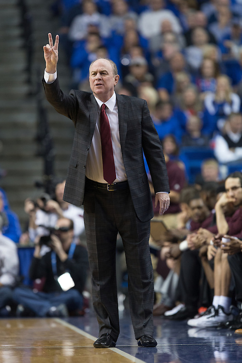 Mississippi State head coach Ben Howland directs his team in the first half. The University of Kentucky hosted Mississippi State, Tuesday, Jan. 12, 2016 at Rupp Arena in Lexington.