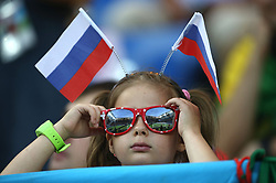 ROSTOV-ON-DON, June 17, 2018  A fan is seen prior to a group E match between Brazil and Switzerland at the 2018 FIFA World Cup in Rostov-on-Don, Russia, June 17, 2018. (Credit Image: © Li Ming/Xinhua via ZUMA Wire)