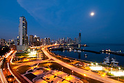 Nigth view of Marina at Cinta costera bayside road and city skyline. Panama City, Panama, Cenral Ameica.