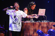 5 April 2014 - Washington, DC:  (L-R) Recording Artist MC Lyte and DJ Beverly Bond, Founder, Black Girls Rock! perform at the launch of ROCK! LIKE A GIRL Inside at the One Mic Hip Hop Festival held at the John F. Kennedy for the Performing Arts on April 5, 2014 in Washington, D.C.  (Terrence Jennings)