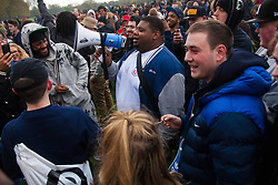 Hyde Park, London, April 19th 2015. Hundreds of cannabis users and their supporters gather at Speaker's Corner in Hyde Park for the annual London 420 pro-cannabis rally, under the watcful eye of Metropolitan Police officers, who kept a reasonably low profile, allowing the rally to continue without any serious incidents. PICTURED: YouTube sensantion Bad Nasty uses a megaphone to spread his unique brand of humour.