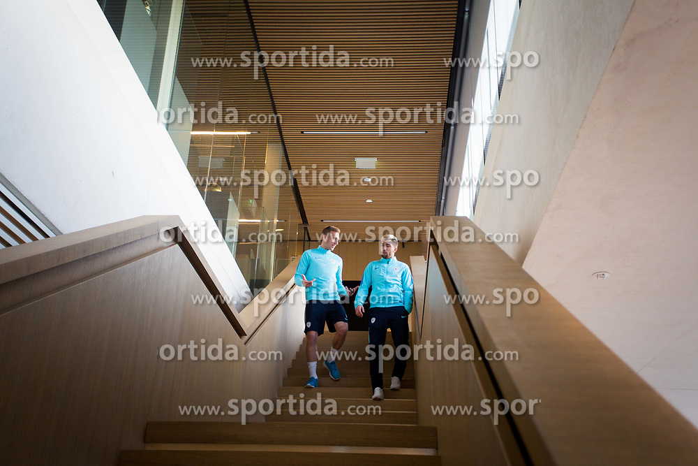 Robert Beric and Kevin Kampl during training of Slovenian national football team before WC 2018 qualifying match vs Scotland, on March 20th, 2017, Brdo pri Kranju, Kranj, Slovenia. Photo by Ziga Zupan / Sportida