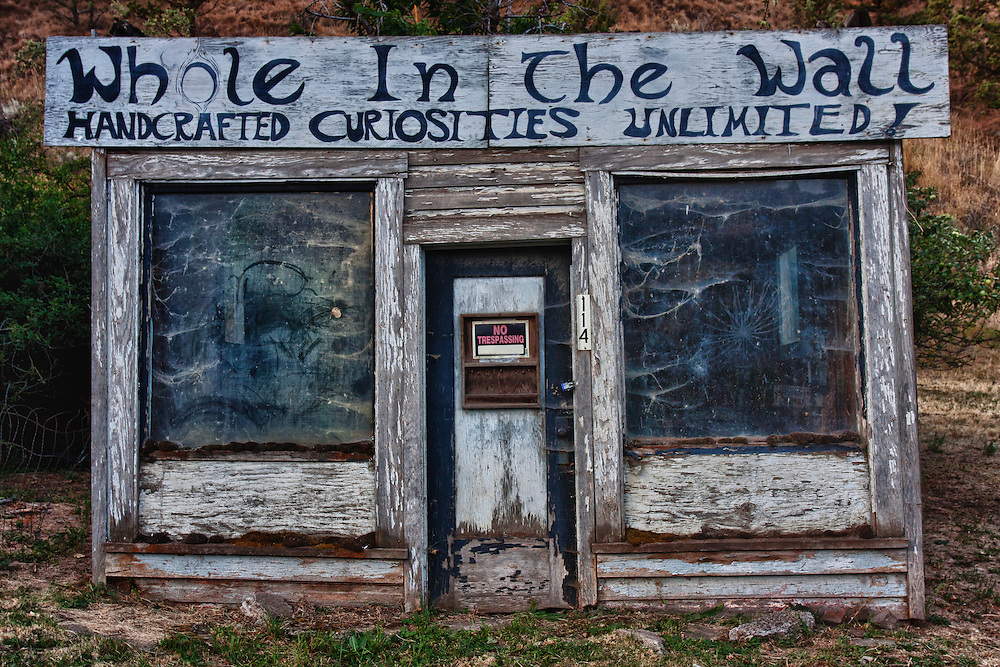 Whole In The Wall, Old store front, Mitchell, Oregon