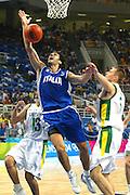 ATENE,  27 AGOSTO 2004<br /> OLIMPIADI ATENE 2004<br /> BASKET, SEMIFINALE<br /> ITALIA - LITUANIA<br /> NELLA FOTO: GIANLUCA BASILE<br /> FOTO CIAMILLO