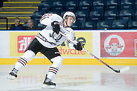 KELOWNA, CANADA, NOVEMBER 9: Turner Elson #10 of the Red Deer Rebels takes a shot on net during warm up as the Red Deer Rebels visit the Kelowna Rockets  on November 9, 2011 at Prospera Place in Kelowna, British Columbia, Canada (Photo by Marissa Baecker/Shoot the Breeze) *** Local Caption ***
