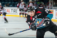KELOWNA, CANADA - SEPTEMBER 28: Cal Foote #25 of Kelowna Rockets takes a shot on net  during warm up against the Prince George Cougars on September 28, 2016 at Prospera Place in Kelowna, British Columbia, Canada.  (Photo by Marissa Baecker/Shoot the Breeze)  *** Local Caption *** Cal Foote;