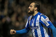 Atdhe Nuhiu (Sheffield Wednesday) runs to celebrate with the fans, having scored Sheffield Wednesday's equaliser. 1-1 during the Sky Bet Championship match between Sheffield Wednesday and Queens Park Rangers at Hillsborough, Sheffield, England on 23 February 2016. Photo by Mark P Doherty.