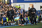 Morgan Fox of Sheffield Wednesday is substituted off with an injury during the EFL Sky Bet Championship match between Sheffield Wednesday and Bristol City at Hillsborough, Sheffield, England on 22 December 2019.