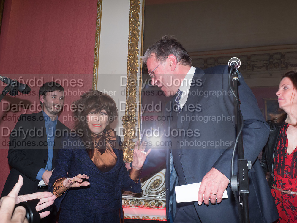 FENELLA FEILDING; TIM BENTINCK,Literary Review Christmas drinks and  Bad Sex in fiction Awards, In and Out club. St. James's Sq. London. 30 November 2017