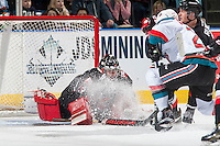 KELOWNA, CANADA - FEBRUARY 18: Nick McBride #33 of the Prince George Cougars makes a first period save against the Kelowna Rockets on February 18, 2017 at Prospera Place in Kelowna, British Columbia, Canada.  (Photo by Marissa Baecker/Shoot the Breeze)  *** Local Caption ***