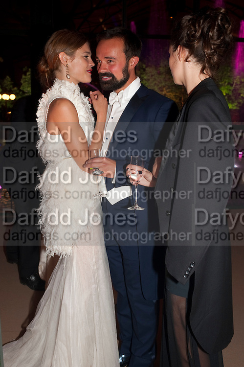 NATALIA VODIANOVA; EVGENY LEBEDEV; LILY ROBINSON, Evgeny Lebedev and Graydon Carter hosted the Raisa Gorbachev charity Foundation Gala, Stud House, Hampton Court, London. 22 September 2011. <br /> <br />  , -DO NOT ARCHIVE-© Copyright Photograph by Dafydd Jones. 248 Clapham Rd. London SW9 0PZ. Tel 0207 820 0771. www.dafjones.com.