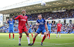 Jack Baldwin of Peterborough United keeps his eye on the ball with Josh Parker of Gillingham - Mandatory by-line: Joe Dent/JMP - 14/10/2017 - FOOTBALL - ABAX Stadium - Peterborough, England - Peterborough United v Gillingham - Sky Bet League One